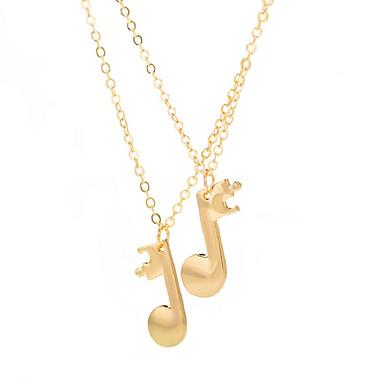 povoljno Modne ogrlice-Žene Ogrlice s privjeskom Long Glazba Glazbena nota dame Moda Legura Zlato Crn Pink 49+5 cm Ogrlice Jewelry 2pcs Za Dnevno Izlasci