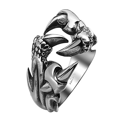 billige Motering-Herre Band Ring Statement Ring vikle ring 1pc Svart Rustfritt stål Sirkelformet metallic Vintage Gotisk Halloween Gate Smykker Drage Kul