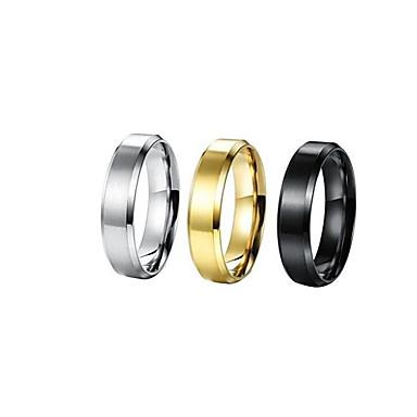 levne Pánské šperky-Pánské Band Ring 1ks Zlatá Černá Stříbrná Titanová ocel Postříbřené Pozlacené Kulatý Jednoduchý korejština Módní Denní Street Šperky Mince