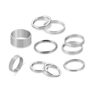 levne Dámské šperky-Pro páry Sada kroužků 10pcs Stříbrná Slitina Circle Shape dámy Punk Rococo Obřad Rande Šperky Provaz Stohovatelné Půvab