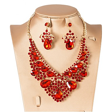 cheap Jewelry Sets-Women's Cubic Zirconia Drop Earrings Choker Necklace Layered Drop Flower Classic Elegant Vintage Earrings Jewelry Red / Green / Blue For Wedding Party Engagement