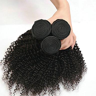 povoljno Ekstenzije od ljudske kose-3 paketa Indijska kosa Kinky Curly Ljudska kosa Headpiece Produžetak Ekstenzije od ljudske kose 8-28 inch Crna Prirodna boja Isprepliće ljudske kose Nježno Klasični Najbolja kvaliteta Proširenja / 8A