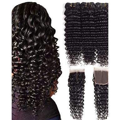 povoljno Ekstenzije od ljudske kose-3 paketi s zatvaranjem Brazilska kosa Wavy Ljudska kosa Jedan Pack Solution 8-24 inch Prirodna boja Isprepliće ljudske kose proširenje Proširenja ljudske kose / 8A