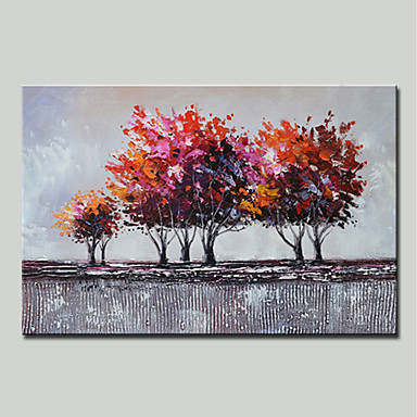 Hang malte oljemaleri Håndmalte - Landskap Blomstret / Botanisk Moderne Inkluder indre ramme / Stretched Canvas