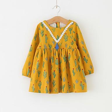 povoljno Odjeća za bebe-Dijete Djevojčice Osnovni Geometrijski oblici Dugih rukava Pamuk Haljina Zlato / Dijete koje je tek prohodalo
