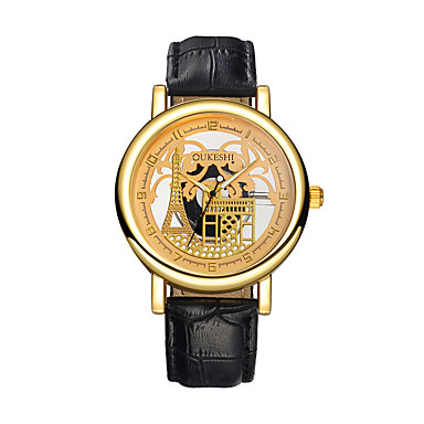 levne Pánské-Pánské Hodinky s lebkou Náramkové hodinky Křemenný Kůže Černá / Hnědá S dutým gravírováním Hodinky na běžné nošení Analogové Eiffelova věž Módní - Černá Hnědá