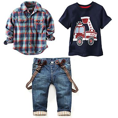 cheap Boys' Clothing Sets-Kids Boys' Basic Vintage Daily Holiday Print Plaid Print Short Sleeve Long Sleeve Regular Clothing Set Blue