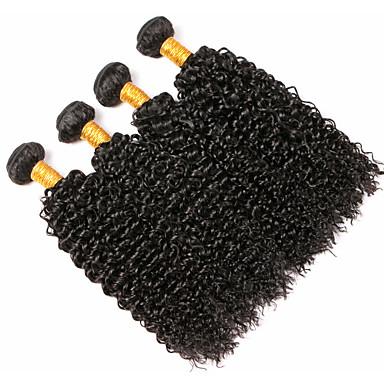 povoljno Ekstenzije od ljudske kose-4 paketića Peruanska kosa Kovrčav Ljudska kosa Ljudske kose plete Produžetak Bundle kose 8-28 inch Crna Prirodna boja Isprepliće ljudske kose Nježno Woven Prirodno Proširenja ljudske kose / 8A