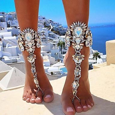 preiswerte Damenschmuck-Barfußsandalen Fußschmuck damas Europäisch Bikini Damen Körperschmuck Für Alltag Bikini Dicke Kette Diamantimitate Aleación Gold Silber 1pc
