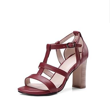 1b5addad3670 Women s Faux Leather Spring   Summer Gladiator Sandals Chunky Heel Open Toe  Black   Wine