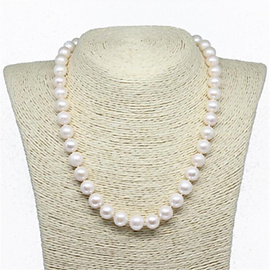 cheap Pearl Necklaces-Women's Freshwater Pearl Choker Necklace Ladies Natural Elegant Fashion Sterling Silver Stainless Steel Freshwater Pearl White 45 cm Necklace Jewelry 1pc For Party Gift Cosplay Costumes