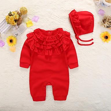 povoljno Odjeća za bebe-Dijete Djevojčice Osnovni Dnevno Jednobojni Naborano / Osnovni Dugih rukava Pamuk Jednodijelno Red