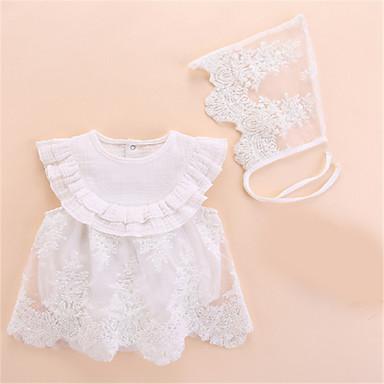 preiswerte Einteiler für kleine Mädchen-Baby Mädchen Grundlegend Solide Ärmellos Einzelteil Weiß