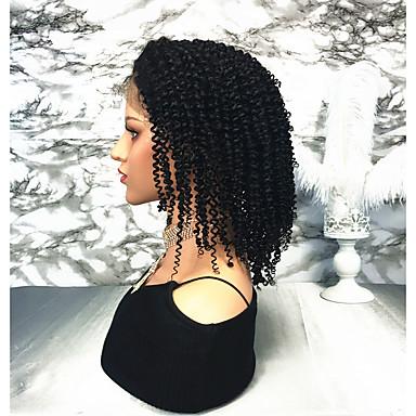 Remy Menneskehår Blonde Forside Parykk stil Brasiliansk hår Krøllet Parykk 130% Hair Tetthet Dame Medium Lengde Blondeparykker med menneskehår