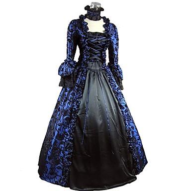 Rokoko Victoriansk 18. århundre Kjoler Party-kostyme Dame Kostume Blå / Svart Vintage Cosplay Fest Skoleball ¾ Erme Lengde Ballkjole