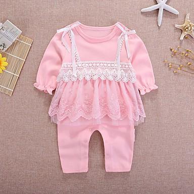 preiswerte Meist Verkaufte-Baby Mädchen Aktiv / Grundlegend Alltag Solide / Einfarbig Spitze / mit Schnürung / Grundlegend Langarm Baumwolle Einzelteil Weiß
