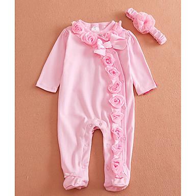 povoljno Odjeća za bebe-Dijete Uniseks Osnovni Jednobojni Dugih rukava Pamuk Kombinezon Blushing Pink / Dijete koje je tek prohodalo
