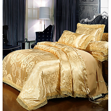 cheap Duvet Covers-Duvet Cover Sets Luxury Polyster Printed & Jacquard 4 PieceBedding Sets / 300 / 4pcs (1 Duvet Cover, 1 Flat Sheet, 2 Shams)