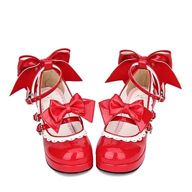 billige Lolitasko-Dame Sko Prinsesse Lolita Tykk hæl Sko Sydd Blonde Sløyfeknute 6.5 cm Rød PU Halloween kostymer