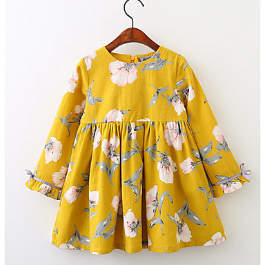 cheap Baby & Kids-Kids Girls' Boho Floral Long Sleeve Dress Yellow