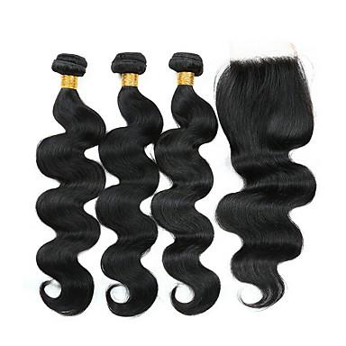 3 pakker med lukking Brasiliansk hår Bølget Ekte hår Menneskehår Vevet Hairextensions med menneskehår Hår Veft Med Lukker 8-22 tommers Naturlig Farge Hårvever med menneskehår Beste kvalitet Ny / 8A