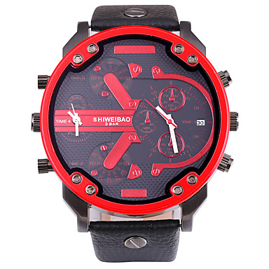 levne Pánské-SHI WEI BAO Pánské Vojenské hodinky Náramkové hodinky Křemenný Velkoformátové Kůže Černá Kalendář Kompas Hodinky s dvojitým časem Analogové Na běžné nošení Módní - Oranžová Červená Modrá Jeden rok