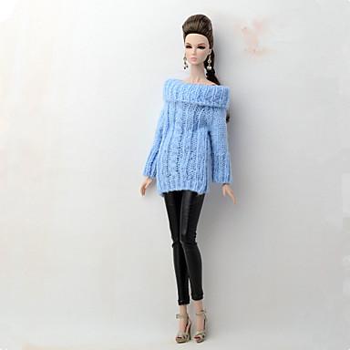 levne Doplňky pro panenky-Svetr pro panenky a svetr Oddělená těla Kalhoty 2 pcs Pro Barbie Módní modrá / černá Textil Polybavlna Umělá kůže Vrchní deska / Kalhoty Pro Dívka je Doll Toy