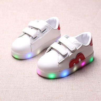 levne Dětské botičky-Chlapecké / Dívčí Pohodlné / Svítící boty PU Boty Batole (9m-4ys) / Malé děti (4-7ys) Řetízek / Kouzelná páska / LED Černá / Červená / Modrá Jaro & podzim / Jaro léto