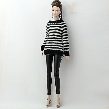 levne Doplňky pro panenky-Svetr pro panenky a svetr Oddělená těla Kalhoty 2 pcs Pro Barbie Módní Černobílá Textil Polybavlna Umělá kůže Vrchní deska / Kalhoty Pro Dívka je Doll Toy