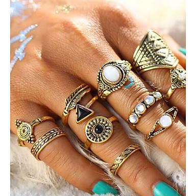billige Motering-Dame Ring Set Midiringe Stable Ringer Opal 10pcs Gull Sølv Legering Sirkelformet Geometrisk Form Statement damer Vintage Ferie Bar Smykker Fjær Kul Smuk