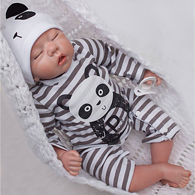 cheap Dolls, Playsets & Stuffed Animals-20 inch Reborn Doll Baby & Toddler Toy Baby Boy Newborn lifelike Eco-friendly Gift Hand Made Cloth 3/4 Silicone Limbs and Cotton Filled Body with Clothes and Accessories for Girls' Birthday and