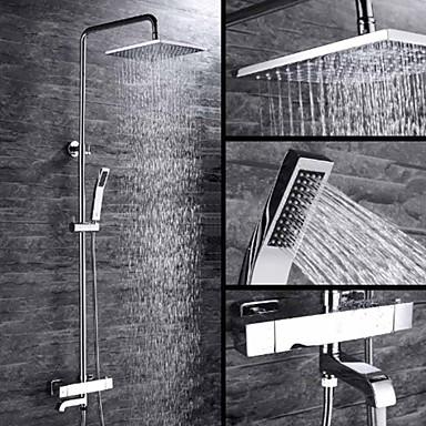 Dusjkran - Moderne Krom Veggmontering Keramisk Ventil Bath Shower Mixer Taps / Messing / Enkelt håndtak To Huller