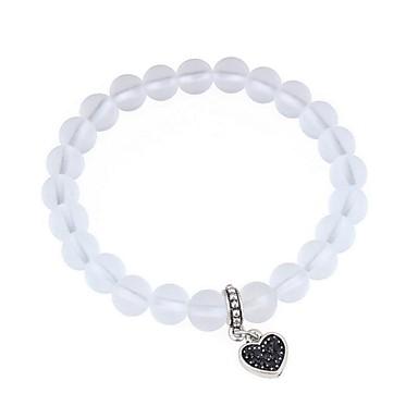 Dame Krystall Perlearmbånd Hjerte damer Mote Harpiks Armbånd Smykker Hvit Til Stevnemøte Gate