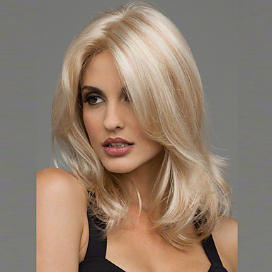 cheap Synthetic Trendy Wigs-Synthetic Wig Wavy Wavy Wig Blonde Medium Length Blonde Burgundy Brown Black Synthetic Hair 20 inch Women's Heat Resistant Middle Part Blonde