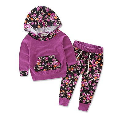 povoljno Odjeća za bebe-Dijete Djevojčice Ležerne prilike / Aktivan Dnevno / Praznik Print Print Dugih rukava Duga Dug Komplet odjeće Crvena