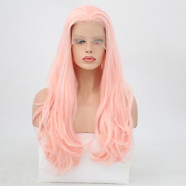 Syntetisk blonder foran parykker Bølget Lagvis frisyre Blonde Forside Parykk Lyserød Lang Rosa Syntetisk hår Dame Varme resistent Lyserød