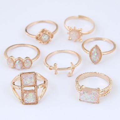 Dame Ring Set Midiringe Stable Ringer 7pcs Gull Legering Kvadrat Geometrisk Form damer Uvanlig Unikt design Avslappet Smykker Hul Anker