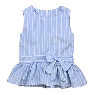 efa5382cb8da9e Baby Girls  Basic Daily Blue   White Striped Bow Sleeveless Regular Cotton    Polyester Dress Blue   Toddler 6746366 2019 –  9.44