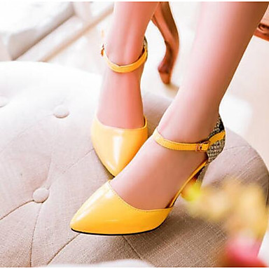cheap Women's Heels-Women's Heels Plus Size Ankle Strap Heel Pointed Toe Comfort Daily Animal Patterned Solid Colored PU Walking Shoes Summer White / Black / Yellow