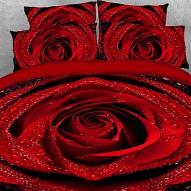 dynetrekk sett 3d polyester / polyamid reaktiv utskrift 4 stk sengetøy sett / 4 stk (1 dyne deksel, 1 flat ark, 2 shams) king