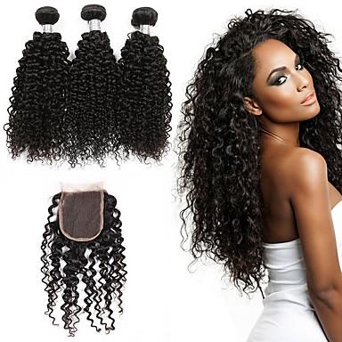 povoljno Ekstenzije od ljudske kose-3 paketi s zatvaranjem Brazilska kosa Kovrčav Ljudska kosa Jedan Pack Solution Prirodna boja Isprepliće ljudske kose proširenje Rasprodaja Proširenja ljudske kose / 8A