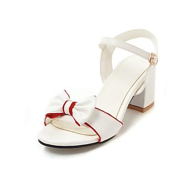 Mujer Zapatos PU Verano Tira en el Tobillo Sandalias Tacón Cuña Puntera abierta Negro / Plateado VvDBH