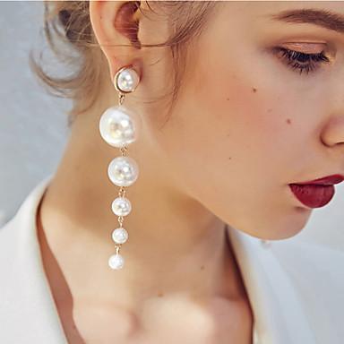 povoljno Modne naušnice-Žene Viseće naušnice Više slojeva Europska Moda Imitacija bisera Naušnice Jewelry Zlato Za Kauzalni 1 par