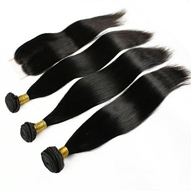 povoljno Ekstenzije od ljudske kose-3 paketi s zatvaranjem Peruanska kosa Ravan kroj Ljudska kosa Jedan Pack Solution 8-22 inch Prirodna boja Isprepliće ljudske kose proširenje Proširenja ljudske kose / 8A