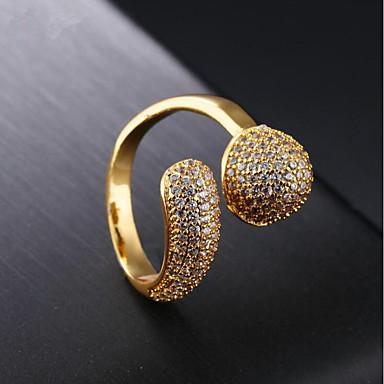 billige Motering-Dame Band Ring Kubisk Zirkonium 1pc Gull 18K Gull Geometrisk Form damer Mote Fest Daglig Smykker Cluster Stjerne Kul