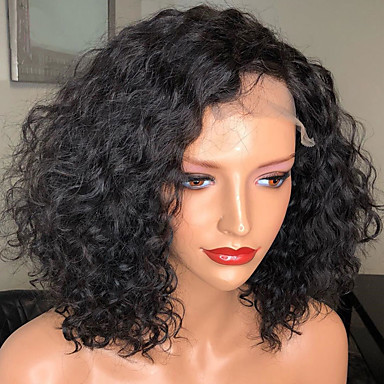 Włosy Naturalne Remy Siateczka Z Przodu Peruka Fryzura Bob Styl