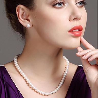 levne Dámské šperky-Dámské Bílá Sladkovodní perla İnci Kolyeler dámy Jednoduchý Módní Elegantní Stříbro Nerez Sladkovodní perla Bílá 45 cm Náhrdelníky Šperky 1ks Pro Párty Dar Cosplay kostýmy