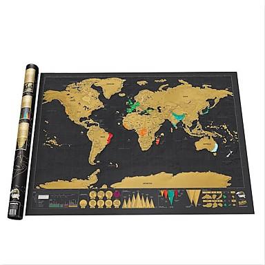 preiswerte Dekorative Objekte-schwarze Weltkarte löschen weg von der Weltkarte personalisiert Reisekratzer für Kartenraum