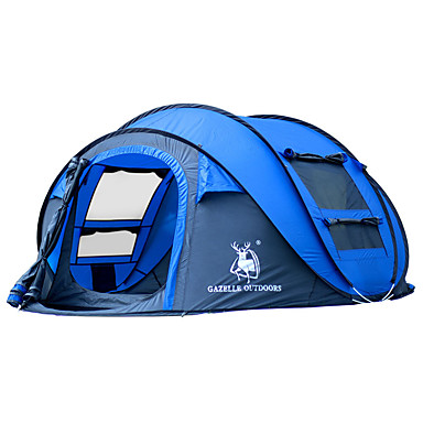 cheap Tents, Canopies & Shelters-HUILINGYANG 4 person Pop up tent Outdoor Waterproof Windproof Foldable Single Layered Automatic Dome Camping Tent 2000-3000 mm for Hiking Camping Fiberglass Oxford 290*200*130 cm