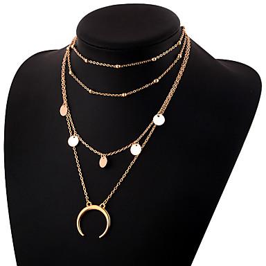 povoljno Modne ogrlice-Žene slojeviti Ogrlice Više slojeva MOON Polumjesec dvostruka truba dame Jednostavan Elegantno Legura Zlato Pink 30 cm Ogrlice Jewelry 1pc Za Dnevno